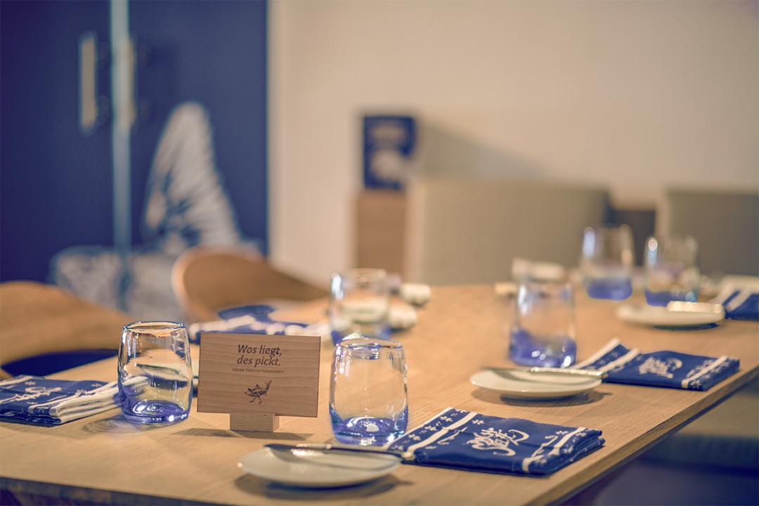 Bachstelze Tisch Blaudruck Serviette
